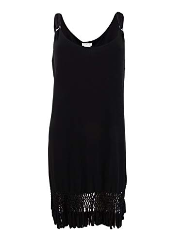 Dotti Fringe-Trim Hardware Dress Swimsuit Cover-Up,Black,Small