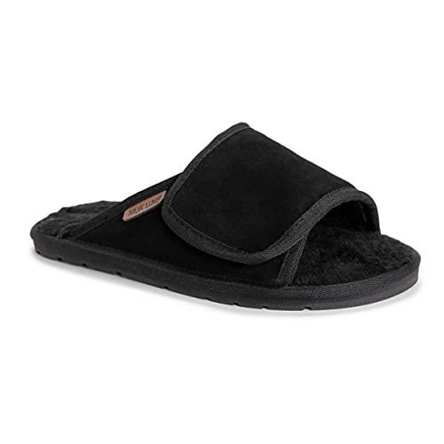 MUK LUKS Leather Goods Men's Topher Open Toe Slipper, Ebony, 13