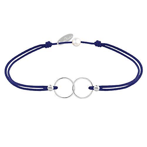 Les Poulettes Bijoux - Bracelet Lien Argent Anneaux Toi et Moi - Classics - Bleu