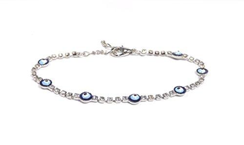 Remi Bijou - Elegantes Armband Armkette Armreif - blaues Auge Nazar Boncuk Zirkonia Strass - Silber Farbe