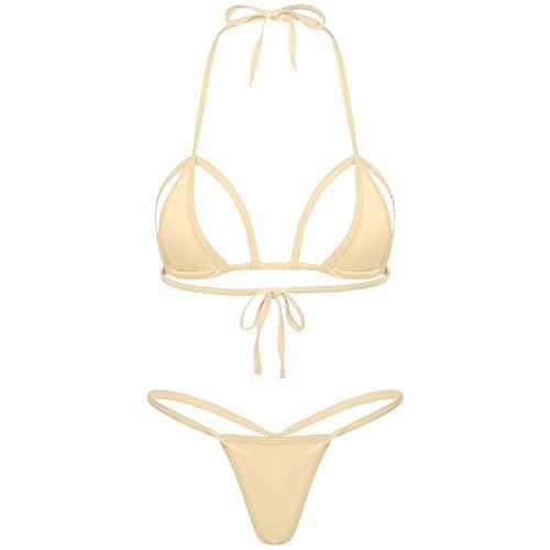 dPois Damen Mirco Bikini Set Sexy Bademode Neckholder BH Bikini Top mit G-String Thong Slip Erotik Badebekleidung Dessous Hautfarbe OneSize
