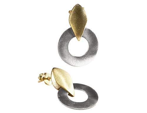 Pendientes de Plata y Oro 18k en forma Circulo de diseño para Mujer - Aretes Minimalistas para regalo