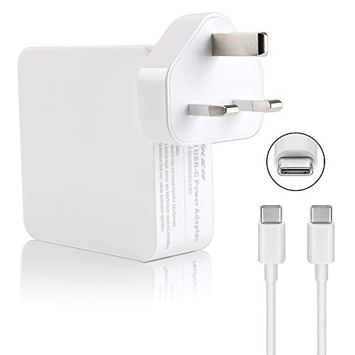 """87W USB C Power Adapter Charger, UL Certified USB Type C Wall Charger with Power Delivery PD Fast Charging USB C Brick for MacBook Pro 13"""" 15'', MacBook Air, iPad Pro, iPhone Xs/Max/XR/X/8 and More"""