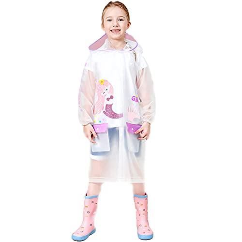 Kinder Regenmantel Wasserdichtes Regencape Kinder Einfarbig Regenmantel mit Hutkrempe Cartoon Drucken Atmungsaktiv Regenanzug Regenponcho für Jungen Mädchen