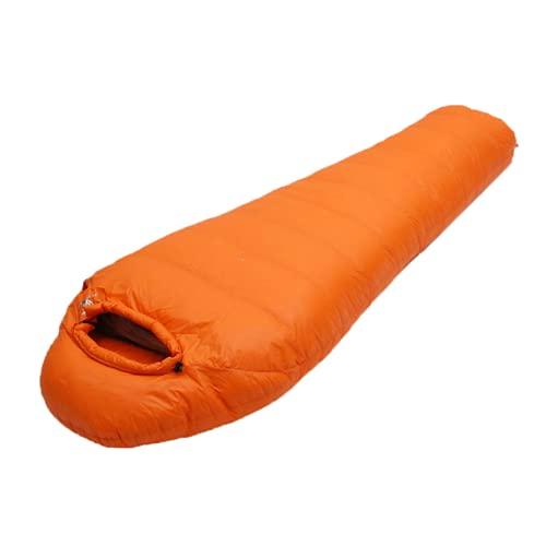 Saco de Dormir, Manta Sacos de Dormir con Sección de Cabeza para Camping Saco de Dormir Ligero Compacto Impermeable, Primavera Verano otoño (Orange,3000G)