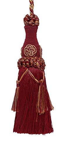 Decorative 15cm Key Tassel / Burgundy Taupe / Baroque Collection Style# BKT Color: CRANBERRY HARVEST - 8612