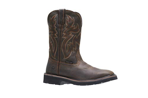 Wolverine Men's Rancher Square Soft Toe Work Boot, Dark Brown/Rust, 10 M US