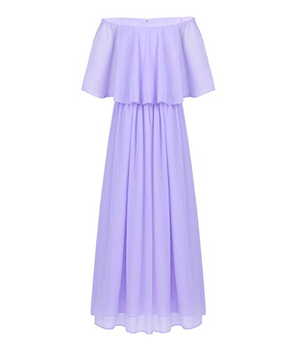 CHICTRY Kids Youth Girls Vintage Style Wedding Party Long Gown Off The Shoulder Chiffon Flower Girl Dress Lavender 10