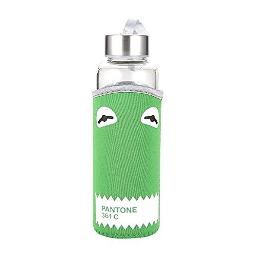 Botella de Vidrio de Viaje al Aire Libre de 350 ml Botella de Agua de Vidrio de borosilicato Tapa de Acero Inoxidable a Prueba de Fugas con Funda de Tela - Verde