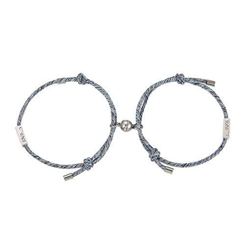 2 Stück Set von Liebenden Paarung Freundschaft Armband Seil geflochtenes Paar magnetisch-EIN
