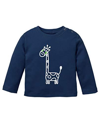 Comedy Shirts - Giraffe - Baby Langarm Shirt - Navy/Weiss-Neongrün Gr. 92/98