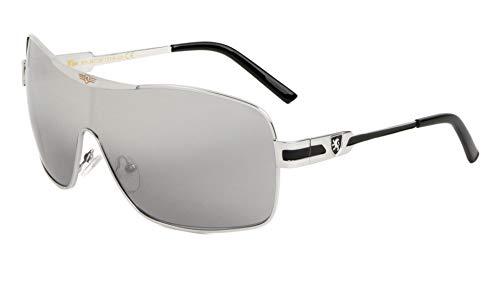 Khan Wrap Around Shield Aviator One Piece Mirror Lens Sunglasses (Silver Metallic & Black Frame, Silver Mirror Lens)