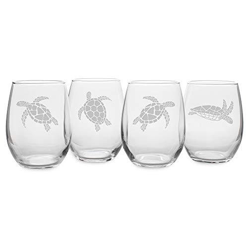 Happy Hour Glassware by Susquehanna Glass Company - Swimming Sea Turtle Assortment, 21 oz. Stemless Wine Glass, Satin, Set of 4