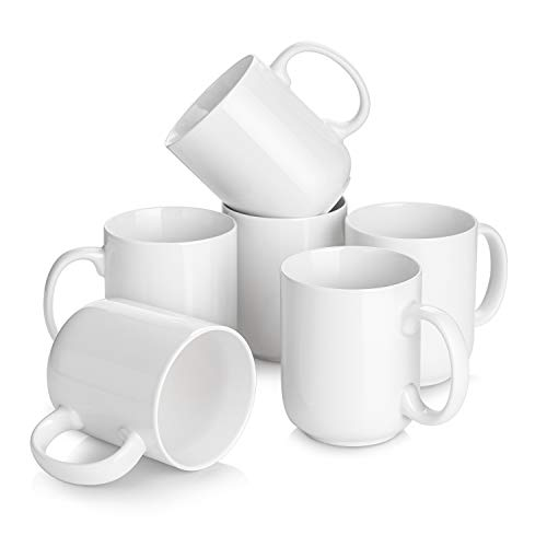 DOWAN 20 Ounce Coffee Mugs with Large Handle, Ceramic Large Coffee Mugs, White Coffee Mugs Set of 6, Coffee Cup for Dishwasher Safe, Microwave Safe, Chip-free, Lead-free and DIY Paint