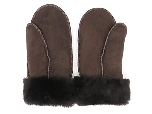 Lammfell Handschuhe Schafffell Lammfell Fäustlinge braun mit braunen Fell, Damen, Größenbeschreibung siehe Produktbeschreibung