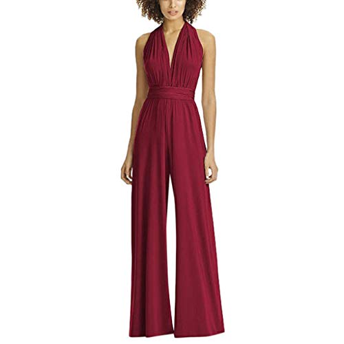 Halter Pleated Jumpsuit,Women High Waist Solid Sleeveless V-Neck Long Jumpsuits Rompers (L, Red)