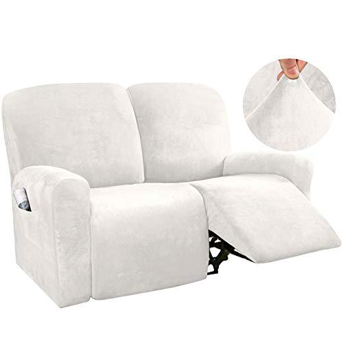 YRRA 2 Sitzer Samt Sofabezug, Super weich Plüsch Couchbezug Waschbar Sofa Schutzhülle, für die Meisten Arten von Liegen,Weiß
