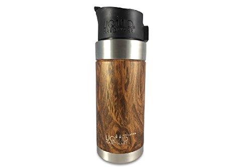 Liquid Hardware Aurora: Travel Coffee Mug Stainless Steel Double Wall Vacuum Insulated Leak Proof BPA Free with Magnetic Quick Stick Lid (Koa Wood Grain, 16 oz)