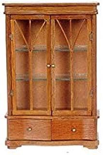 Dollhouse Miniature China Cabinet W/2 Drawer, Pecan