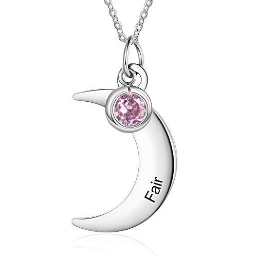 Madeindirect Collar con Colgante de Luna Personalizado Collar de Nombre de Acero Inoxidable con Colgante de Piedra de Nacimiento Simulada Colgante de Plata para Mujer