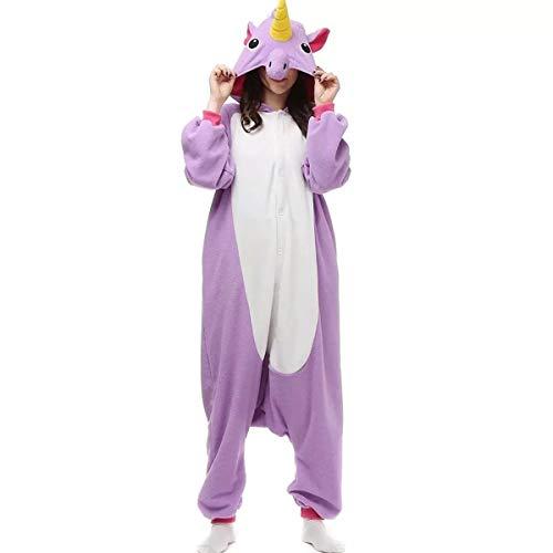 Fantasia Pijama Macacão de Unicórnio Kigurumi Adulto Lilás Com Gorro PP - 36
