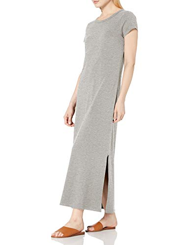 Daily Ritual Women's Lived-in Cotton Relaxed-Fit Short Sleeve Crewneck Maxi Dress, Light Grey Heather, Small