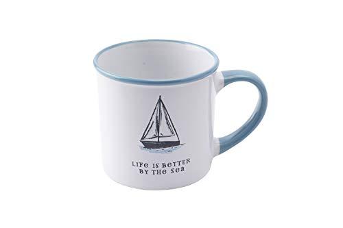 Coast to Coast 'Life is Better' Taza de gres con diseño de barco   desde CGB Giftware's Coast to Coast   Taza, té, café, cocina, vajilla   barco   GB04245