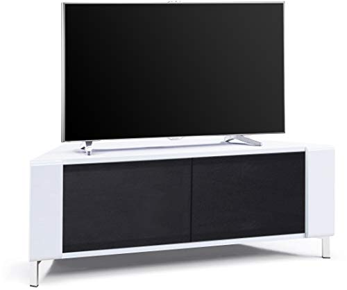 """MDA Designs CORVUS Corner-Friendly Gloss White Contemporary Cabinet with White Profiles Black BeamThru Glass Doors Suitable for Flat Screen TVs upto 50"""""""