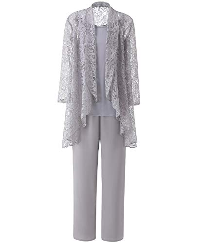 LoveeToo Women's 3 Pieces Elegent Lace Mother of Groom Bride Dress Pant Suits Long Sleeves with Jacket/Outfit(US16,Silver Grey)