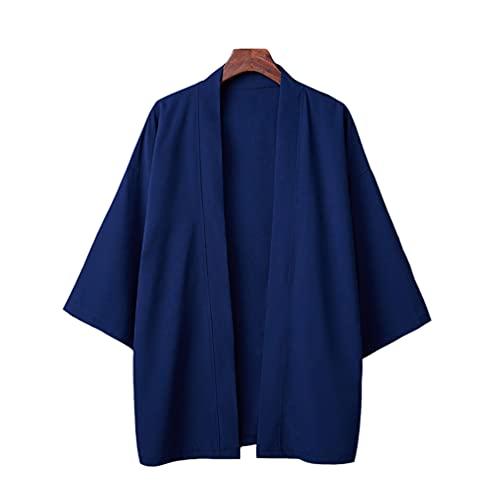 HAORUN Hombres Japonés Abrigo Kimono Top Outwear Chaqueta Chaqueta Yukata Suelta Color Sólido Retro - azul - talla única