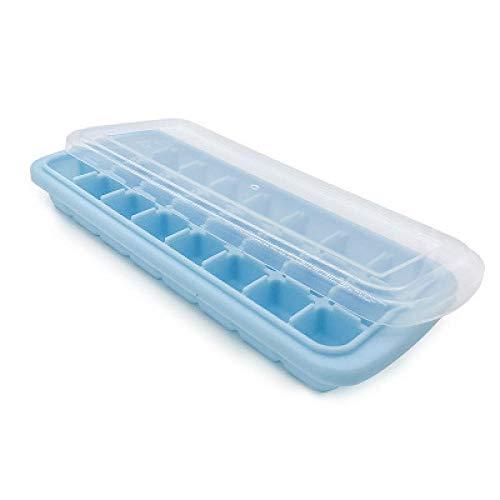 Eis Am Stiel Formen 5Pcs 24 Gitter Mit Deckel Quadrat Silikon Eisgitter Sommer Gefrierform Lebensmittelqualität Babynahrung Ergänzung Gefrierbox Hellblau