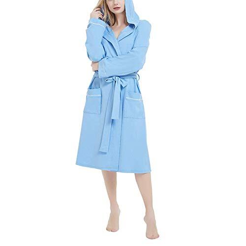 Camisón de otoño e invierno para mujer, de manga larga, simple, natural, abierto, sin costuras, toalla para el hogar, albornoz (color: azul, tamaño: Xxxxl)