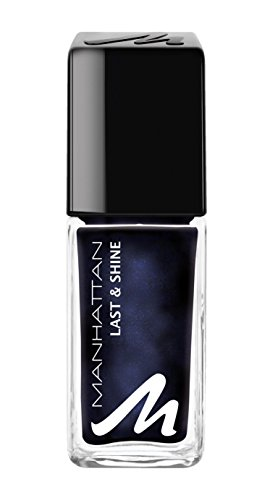 Manhattan Last & Shine Nagellack – Dunkelblauer Nail Polish mit rosanem Glanz für 10 Tage perfekten Halt – Farbe Moonlight Magic 685 – 1 x 10ml
