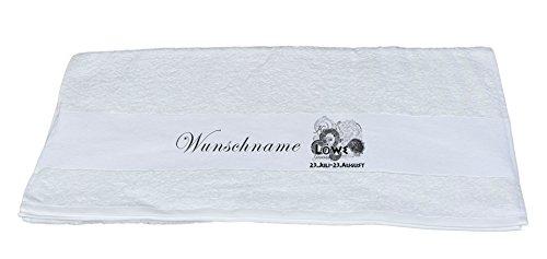 Badetuch Handtuch m. Sternzeichen Löwe und Wunschname Bedruckt 70x140 o. 50x100 (weiß, Handtuch 50x100)