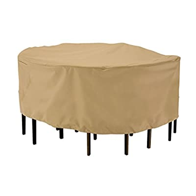 Classic Accessories Terrazzo Water-Resistant 94 Inch Round Patio Table & Chair Set Cover