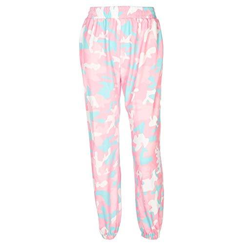 U/A Pantalones de Camuflaje Rosados Pantalones de chándal de Camuflaje para Mujer Pantalones elásticos de Cintura Alta Pantalones de chándal Holgados Ocasionales Bolsillos Estampados