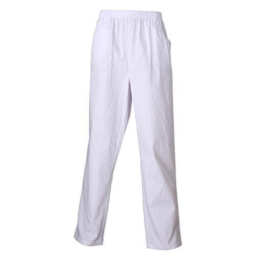 Misemiya Spodnie Robocze dla Personelu Szpitalnego Unisex, Białe, XL