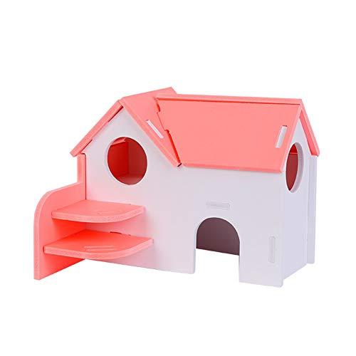 Casa para Hámster Casa De Madera Juguetes para Hámster Accesorios para Hámster Suministros para Juguetes para Hámster Oso De Seda Dorada Casa De Madera Nido Pequeño Villa Pink