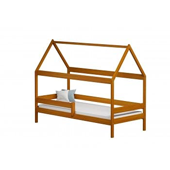 Children's Beds Home - Cama individual en forma de casa con dosel - Teddy - Cama individual - Teddy - 190x90, aliso, ninguno, 10 cm espuma / látex colchón