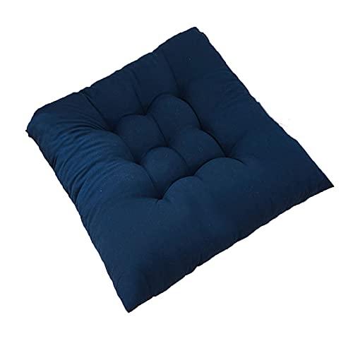 KicKiq Cojines de silla de jardín con 2 lazos de 35 cm x 35 cm, cojines de color sólido para sillas de oficina, cojines de asiento morado para muebles de exterior (azul oscuro, 4)