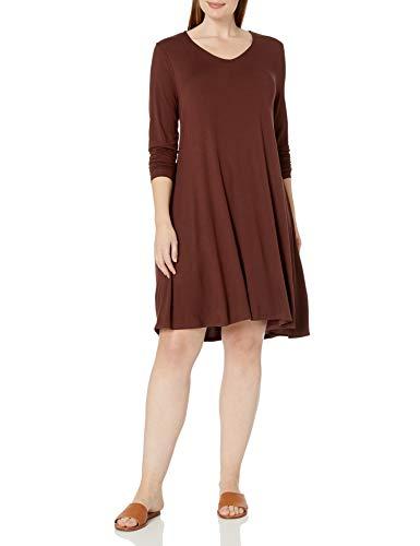 Amazon Brand - Daily Ritual Women's Plus Size Jersey Long-Sleeve V-Neck Dress, 1X, Chocolate Brown