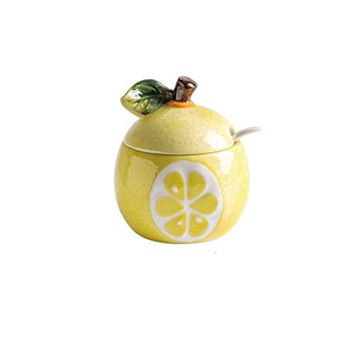 SMEJS Keramische Frucht Gewürz Glas-Keramik-Zucker, Zuckerdose, Zucker Set mit Deckel & Löffel, Kaffee Serving Set Hochzeit Geschenk (Color : C)