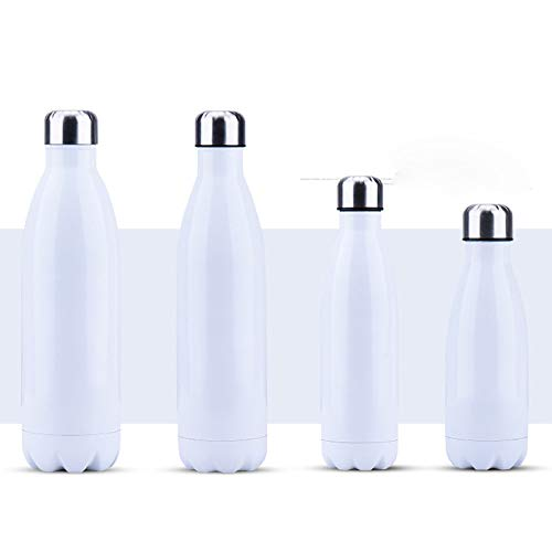 Langchao Stainless Steel Thermos Bottle Creative Simple Solid Color Coke Bottle Portable Outdoor car Water Bottle White 260ml