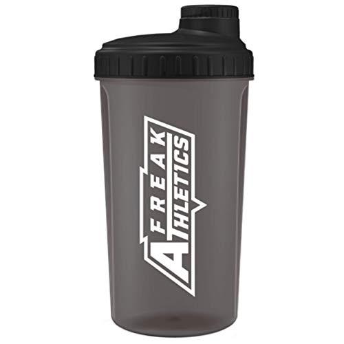 Freak Athletics Botella de 700 ml, sin BPA, botella de coctelera (tapa negra transparente/negra)