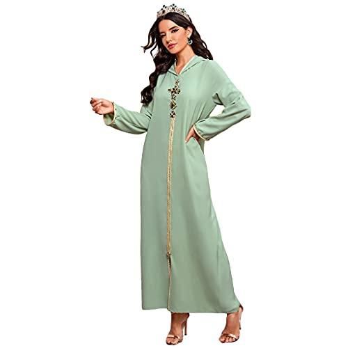 Xuebai Frauen Faux Crystal Floral Muslim Abaya Langarm Mit Kapuze Maxikleid Robe Kaftan Kleid Hellgrün