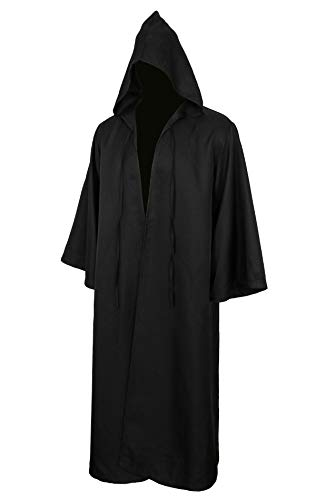 Men Tunic Hooded Robe Cloak Knight Gothic Fancy Dress Halloween Masquerade Cosplay Costume Cape (M, Adult Black)