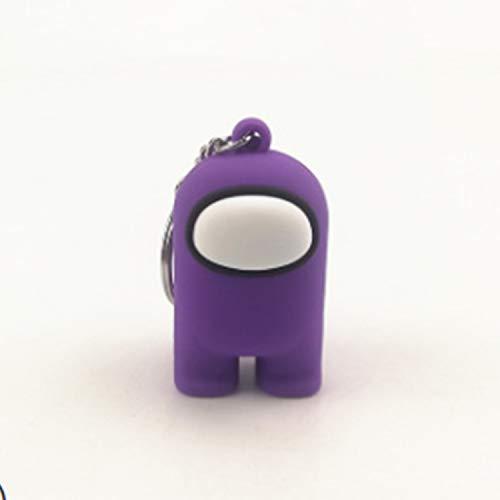 RecontraMago Among Us Llavero Muñecos -  Figuras con Caja Amongus -  Perfecto para Regalo -  Distintos Colores -  Peluche Juguetes muñecos -  Cara Feliz niños cumpleaños (Violeta)