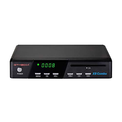 GT MEDIA X8 Combo Decodificador Satélite Receptor Terrestre Digital de DVB- S2X + T2 + Cable, Lector de Tarjetas Inteligentes para Tivusat, Soporta 1080P HEVC H.265 10Bit PVR con WiFi / SCART / HDMI