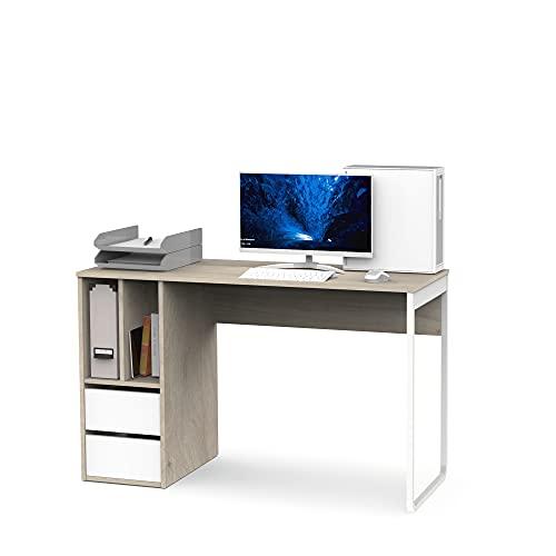 Muebles Pitarch Nolita Mesa para Estudiar-Despacho, Aglomerado de partículas y melanina de Alta Densidad, Aurora/Blanco/Pata Blanca, 74 x 120 x 50 cm