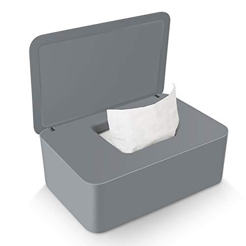Delisouls Dispensador de toallitas húmedas, papel de seda seco y húmedo, funda protectora sin polvo, caja de almacenamiento con tapa para el hogar (gris)